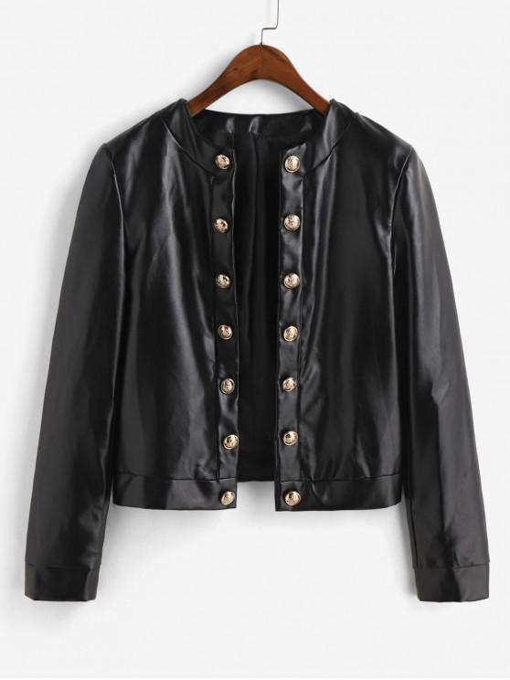 women ZAFUL Metallic Button Front Shoulder Pads PU Leather Jacket - BLACK M