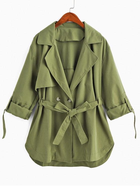 lady Lapel Roll Up Sleeves Belted Trench Coat - GREEN S