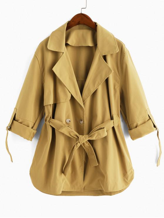 hot Lapel Roll Up Sleeves Belted Trench Coat - COOKIE BROWN S