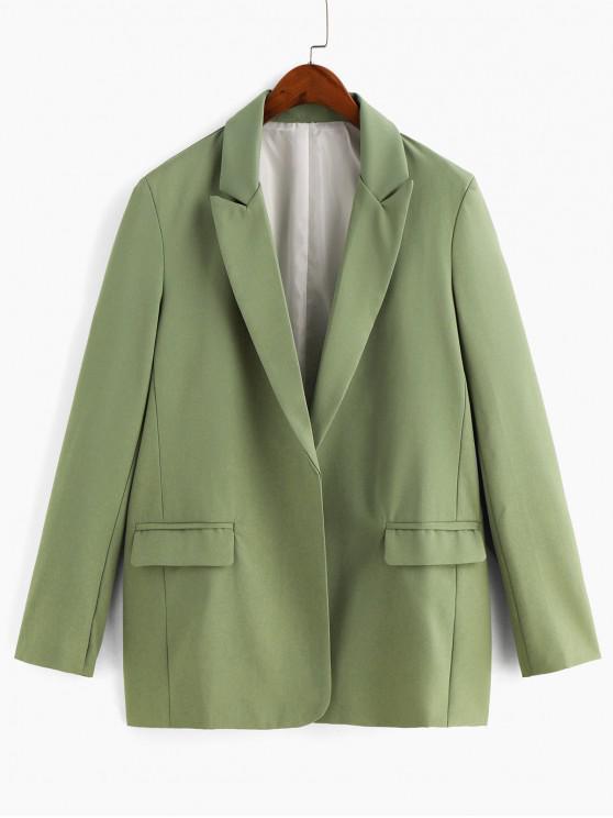 fancy Open Front Padded Shoulder Pocket Blazer - GREEN S