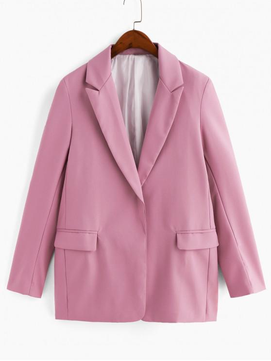 Открытый фронт Плечо с подушкой Карман Длинный Блейзер - Розовый M