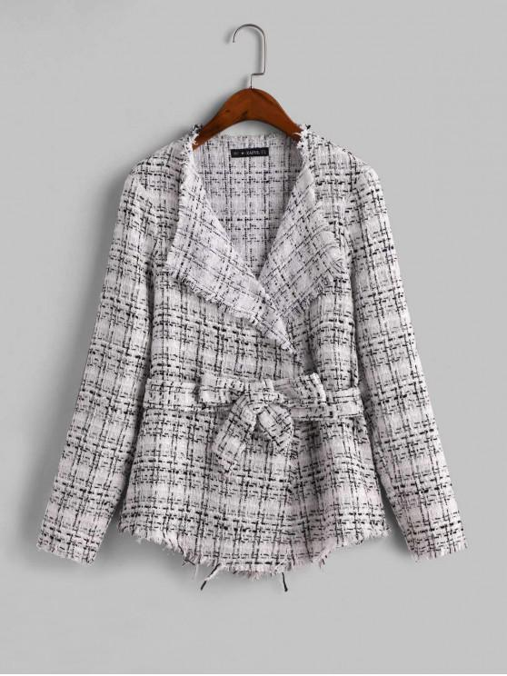 hot ZAFUL Frayed Belted Plaid Tweed Skirted Jacket - MULTI-A L