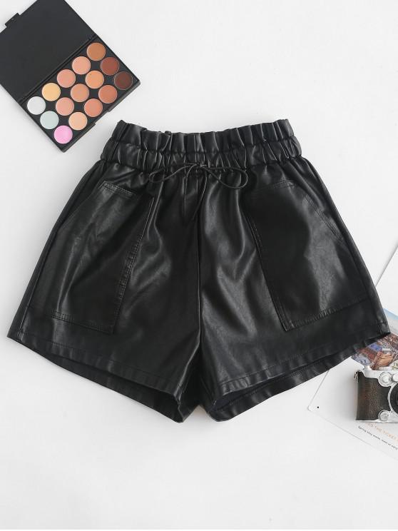 women Pockets Drawstring PU Leather Shorts - BLACK M