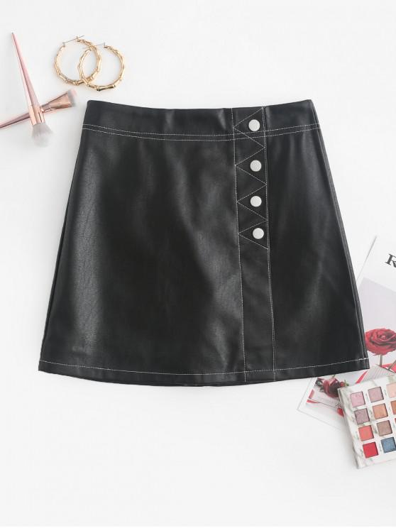 outfit Contrast Stitching Buttoned PU Leather Mini Skirt - BLACK M