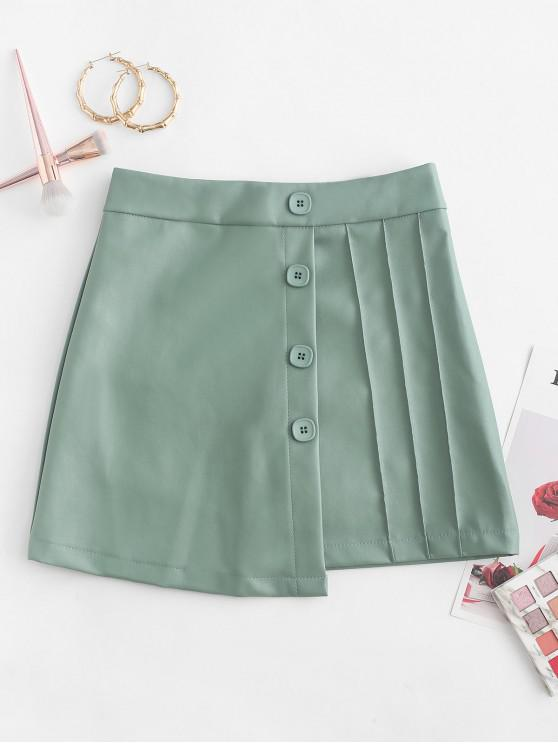 latest Overlap Buttoned PU Leather Mini Skirt - LIGHT GREEN XL