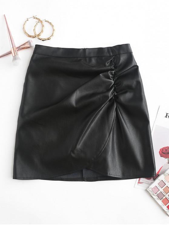 trendy Overlap Gathered Front PU Leather Mini Skirt - BLACK XL
