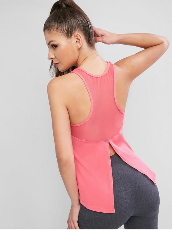 womens Back Split Mesh Panel Racerback Tank Top - WATERMELON PINK M