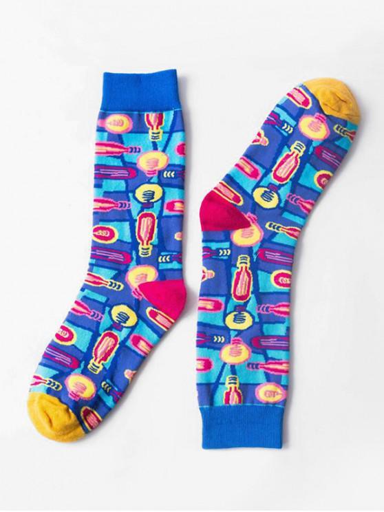 ladies Hip-hop Street Crew Length Socks - BLUE