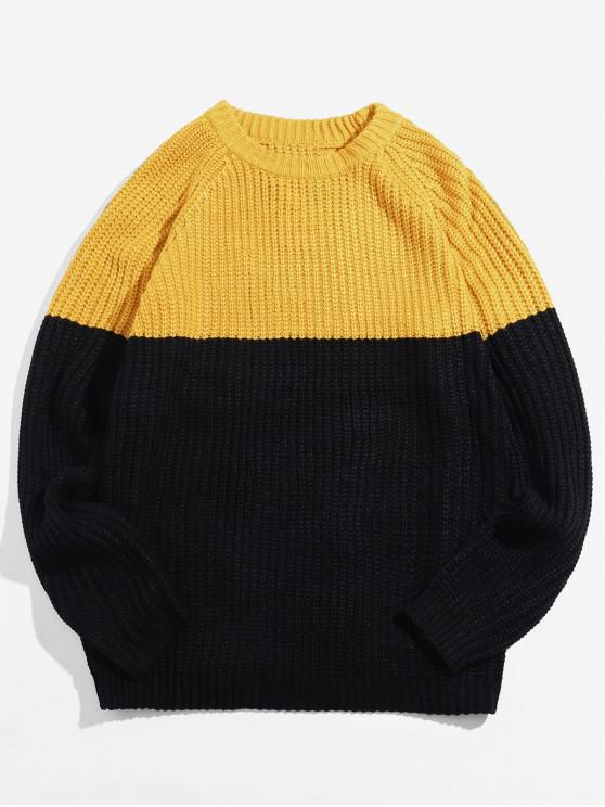 outfit Two Tone Raglan Sleeve Pullover Sweater - YELLOW L