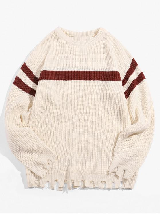 buy Color Blocking Striped Fringed Pullover Sweater - WARM WHITE M