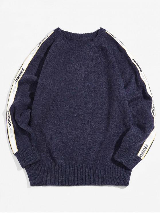 ladies Raglan Sleeve Contrast Letter Ribbon Pullover Sweater - CADETBLUE XL