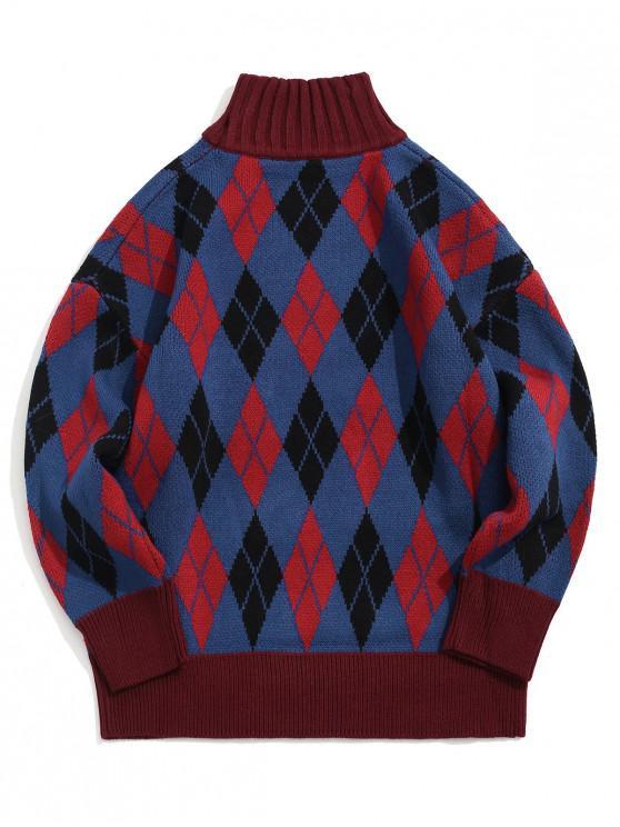 unique Rhombus Pattern Turtleneck Sweater - COBALT BLUE L