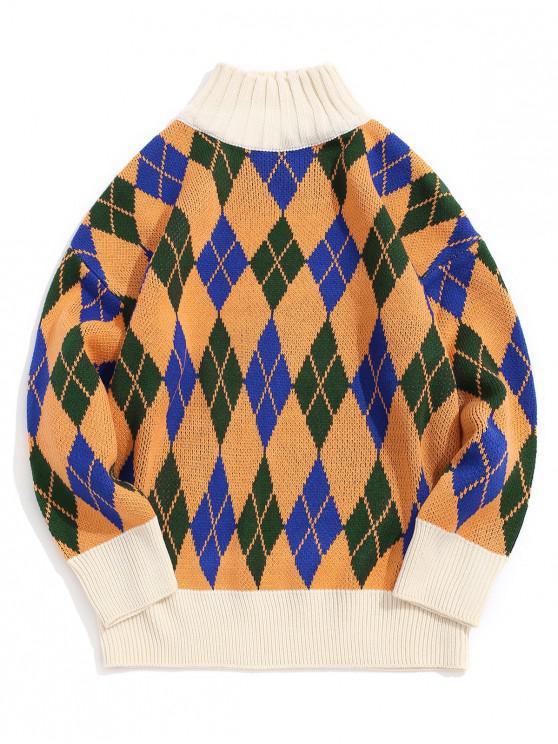 Patrón suéter de cuello alto rombo - Amarillo M