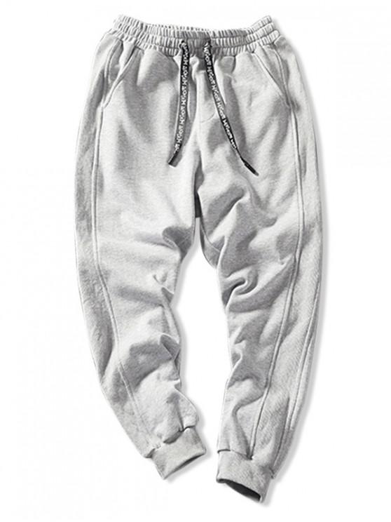 trendy Solid Color Pocket Decorated Casual Pants - LIGHT GRAY 2XL