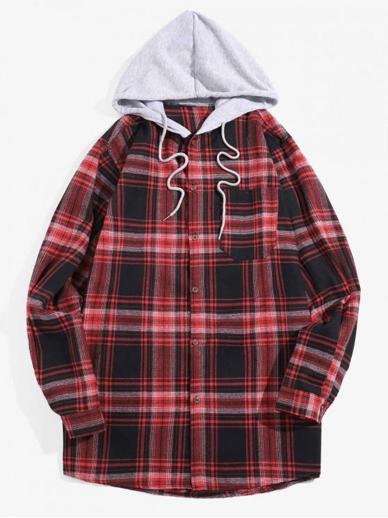 affordable Glen Plaid Pocket Hooded Long Sleeve Shirt - RED S