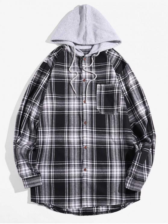 women Glen Plaid Pocket Hooded Long Sleeve Shirt - WHITE XL