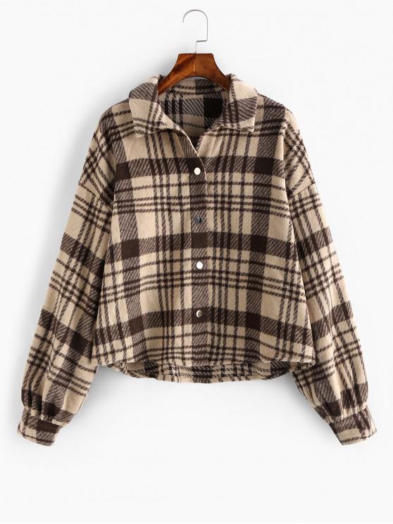 womens ZAFUL Plaid Drop Shoulder Button Up Coat - MULTI-A S