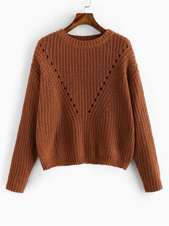 fashion ZAFUL Pointelle Eyelet Drop Shoulder Sweater - RUST M