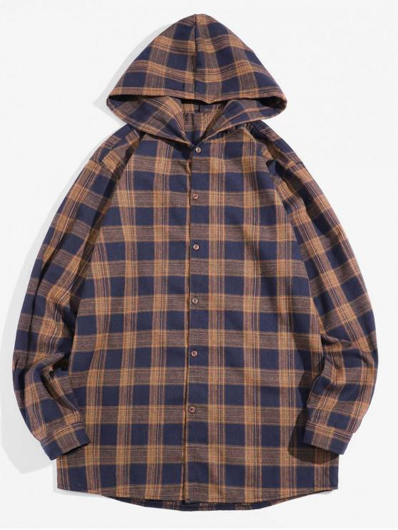 women Retro Checked Long Sleeve Hooded Shirt - COFFEE M