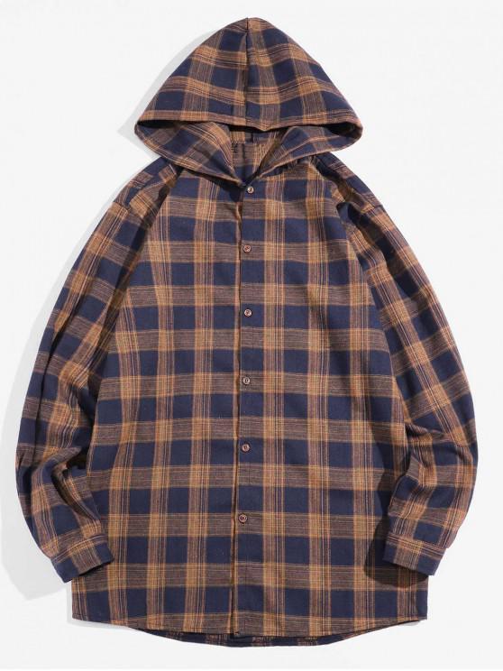 shops Retro Checked Long Sleeve Hooded Shirt - COFFEE XL