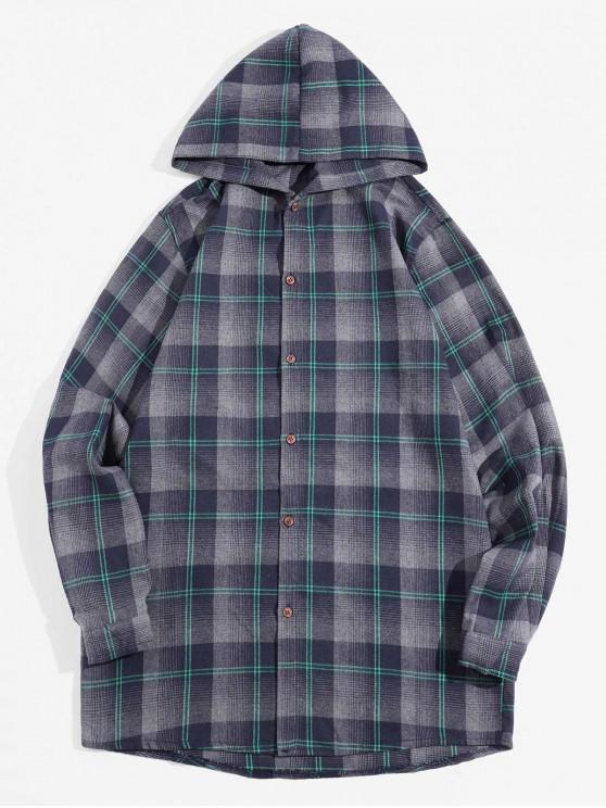 ladies Retro Checked Long Sleeve Hooded Shirt - SLATE GRAY L