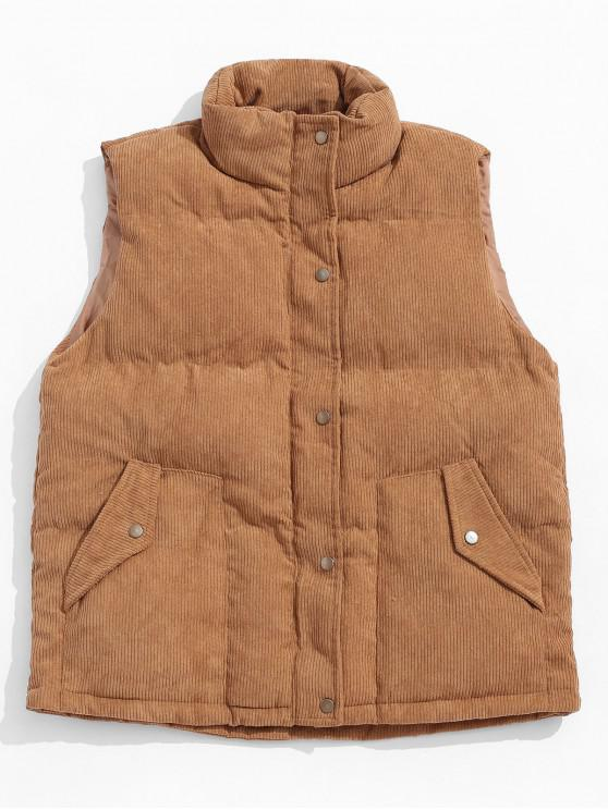 ladies Solid Color Zip Up Button Padded Waistcoat - CARAMEL M