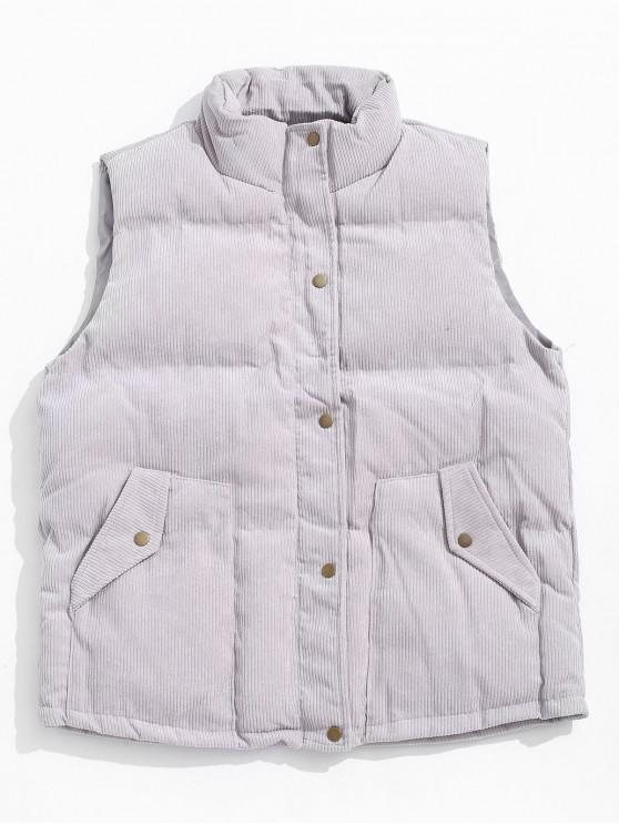 shop Solid Color Zip Up Button Padded Waistcoat - GRAY GOOSE 2XL