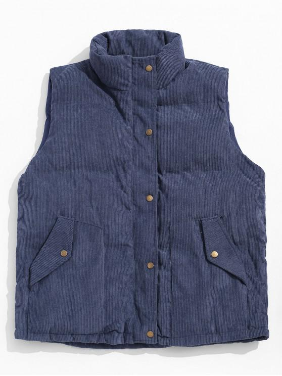 shop Solid Color Zip Up Button Padded Waistcoat - MARBLE BLUE XL