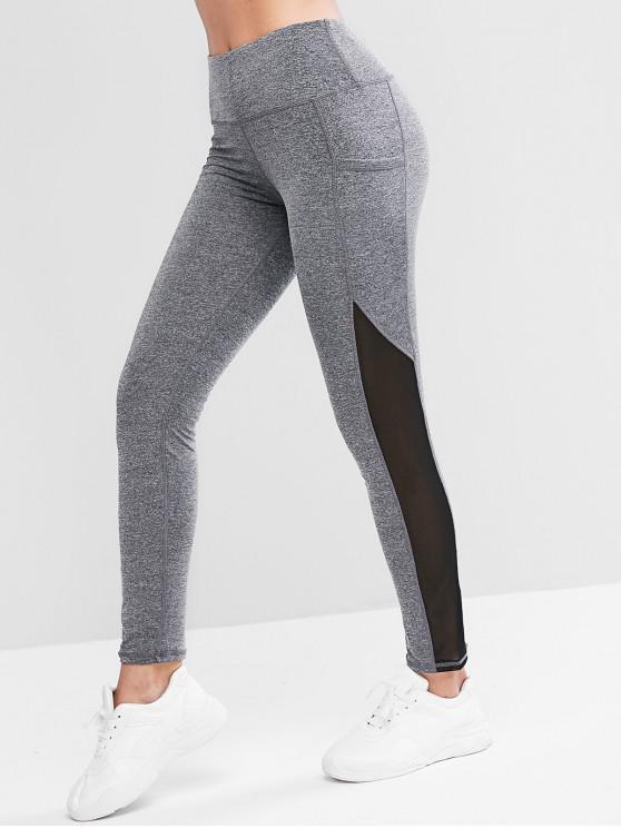 sale Sports Side Pockets Mesh Panel Leggings - GRAY M