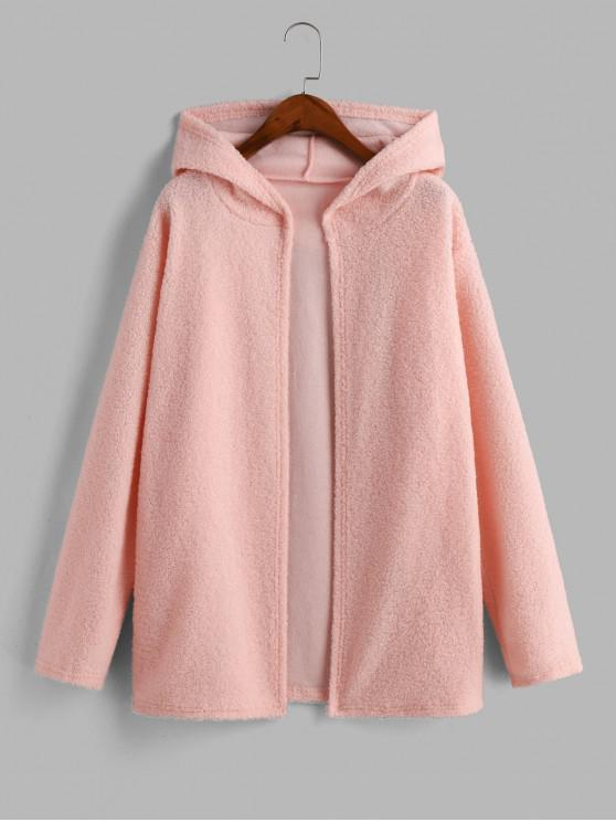 hot Faux Shearling Hooded Open Front Tunic Coat - PINK XL