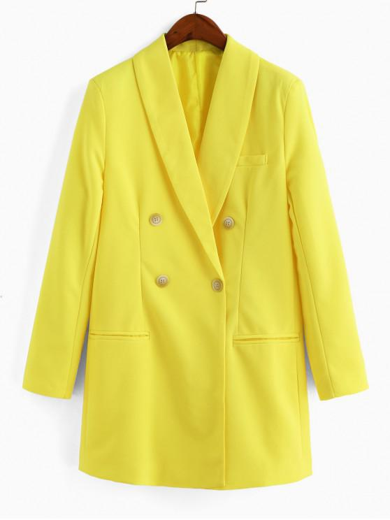 online Shawl Collar Double Breasted Longline Blazer - YELLOW S
