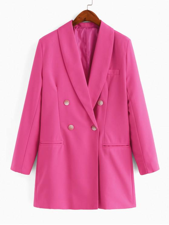 shop Shawl Collar Double Breasted Longline Blazer - PINK L