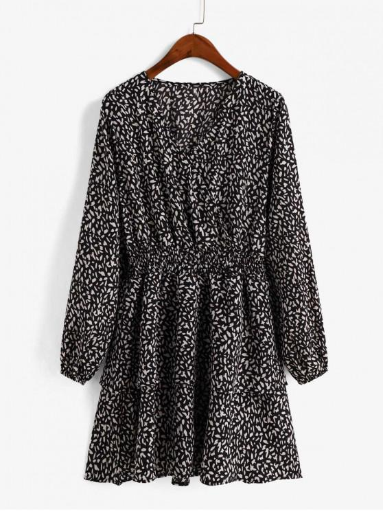 outfits Layered Printed Long Sleeve Surplice Dress - BLACK L