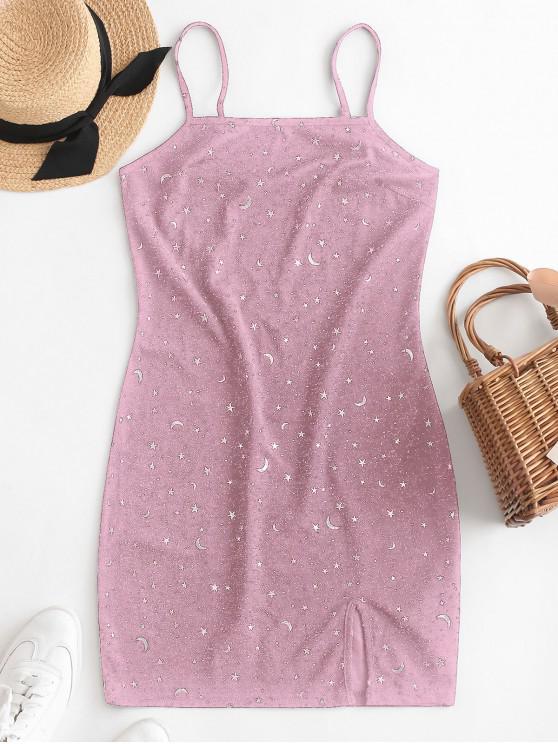 fancy ZAFUL Moon and Star Metallic Thread Cami Slit Dress - LIPSTICK PINK L