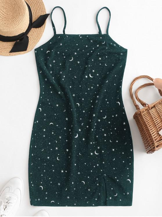ZAFUL Luna y estrella hilo metálico Cami Vestido de corte - Verde Oscuro S