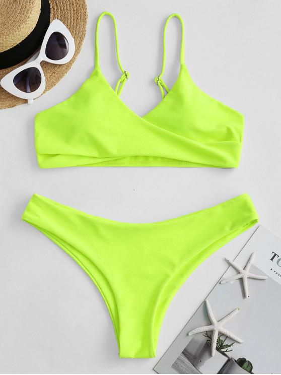 women ZAFUL Low Waisted Neon Cami Bikini Swimsuit - GREEN YELLOW M