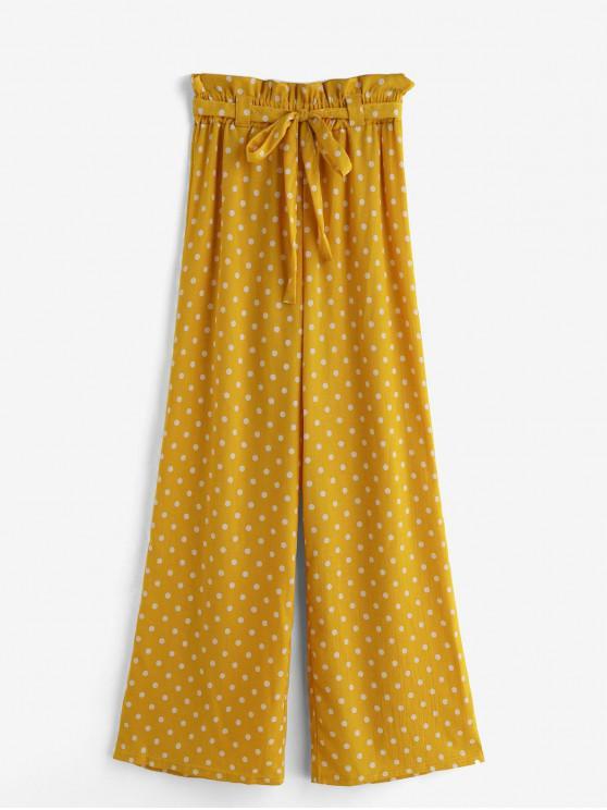 hot Polka Dot Belted Wide Leg Beach Pants - SAFFRON M