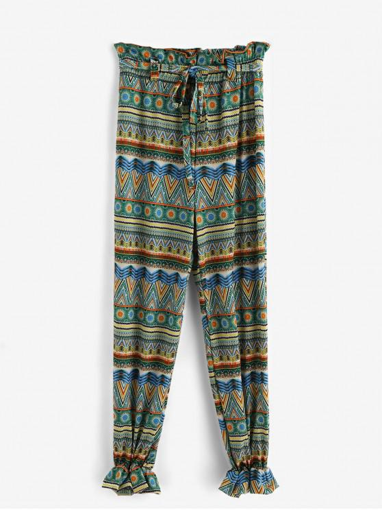 womens Printed Belted Beach Jogger Pants - MULTI-A M