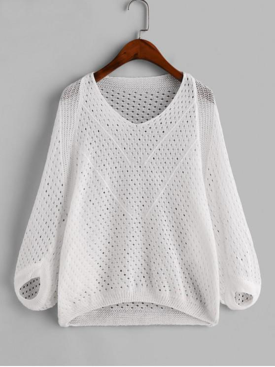 women's Hollow Out Dolman Sleeves Solid Cover Up - WHITE ONE SIZE