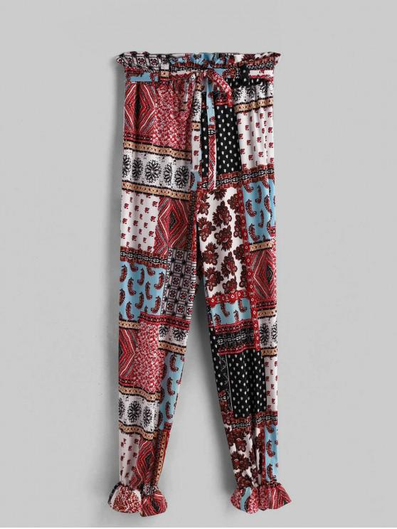 shops Printed Belted High Waist Bohemian Pants - MULTI-A M