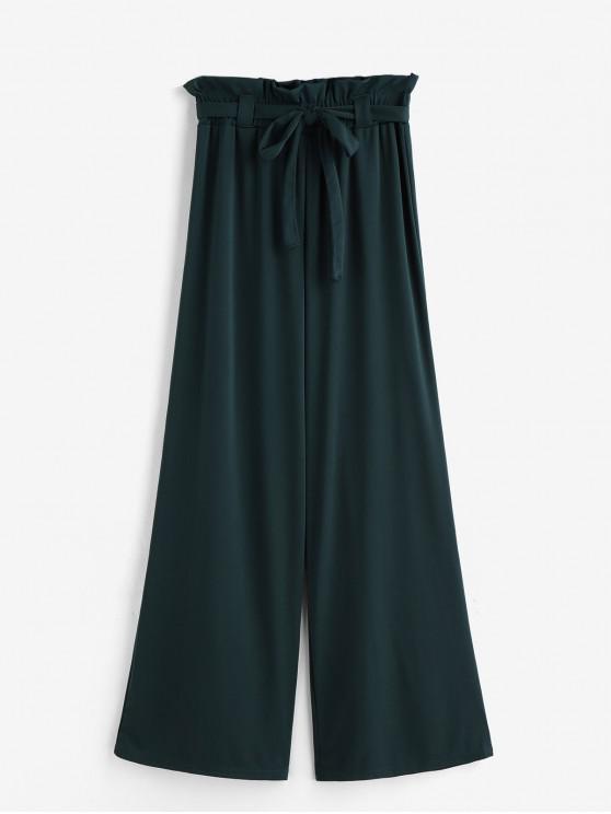 fancy Solid Belted Wide Leg Paperbag Pants - DEEP GREEN 2XL