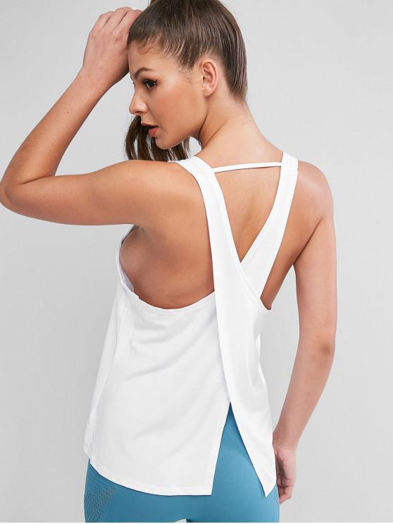 shop Muscle Criss Cross Back Sports Tank Top - WHITE L