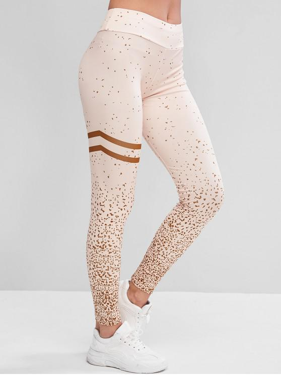 affordable Mid Rise Stripes Panel Printed Sports Leggings - APRICOT M