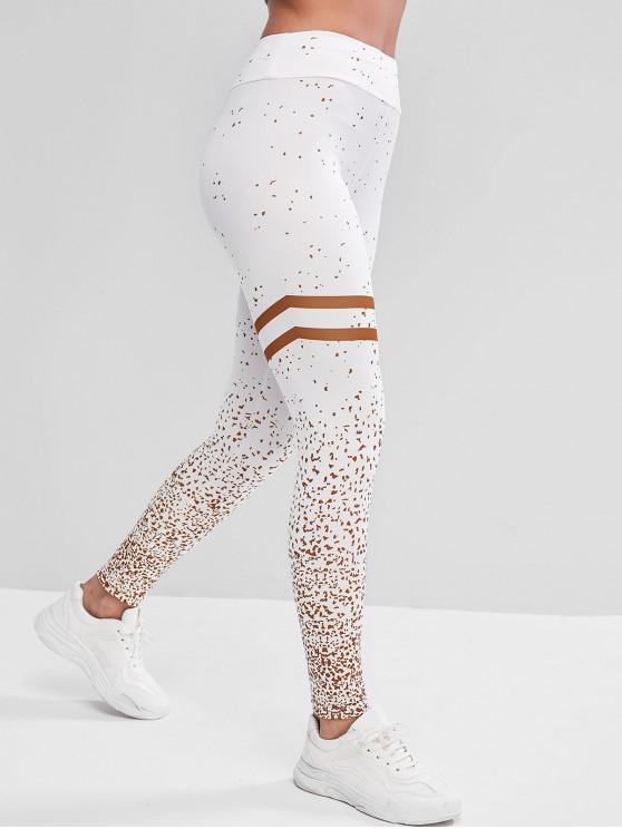 ladies Mid Rise Stripes Panel Printed Sports Leggings - WHITE L