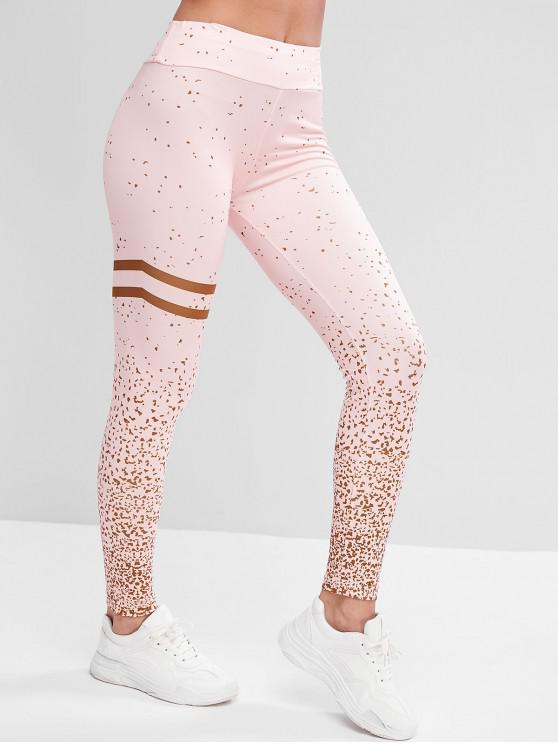 hot Mid Rise Stripes Panel Printed Sports Leggings - PINK XL