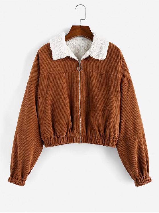 best ZAFUL Corduroy Zip Teddy Drop Shoulder Jacket - BROWN BEAR S