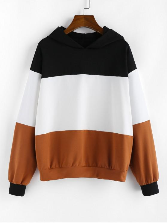 women ZAFUL Drop Shoulder Colorblock Pullover Hoodie - BROWN XL