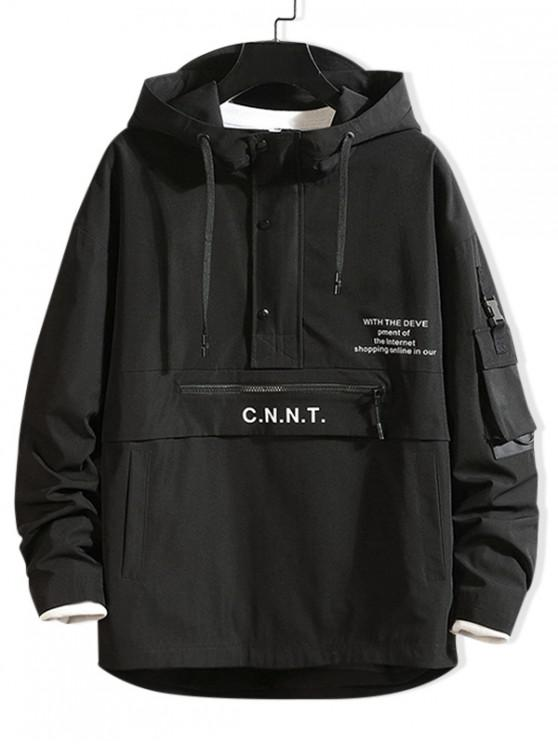 latest Letter Pattern Zipper Design Hoodie - BLACK M