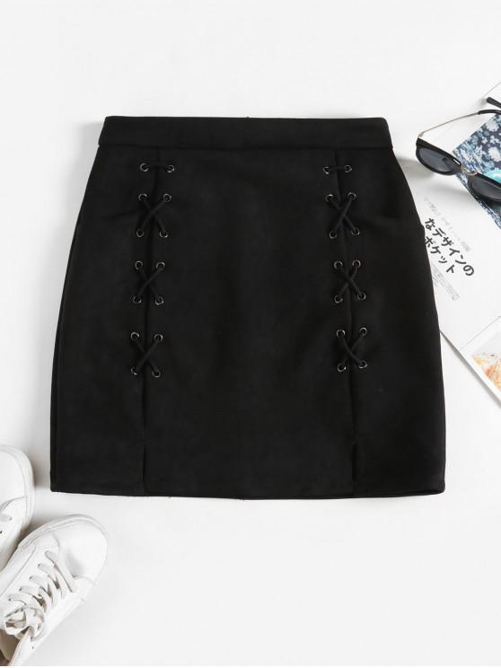 Lace Up Slit Pockets Faux Suede fusta mini - Negru S