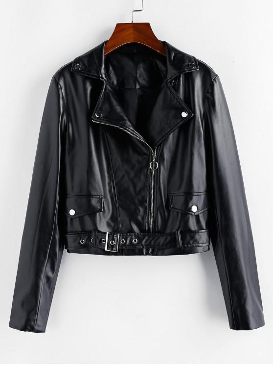 shops ZAFUL PU Inclined Zipper Belted Jacket - BLACK XL